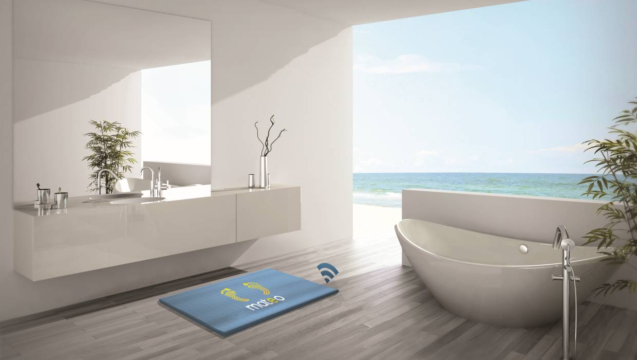 Mateo is a bathroom mat with footprint recognition and smart features that give users access to data like their weight, body fat analysis and muscle mass via a smartphone app.
