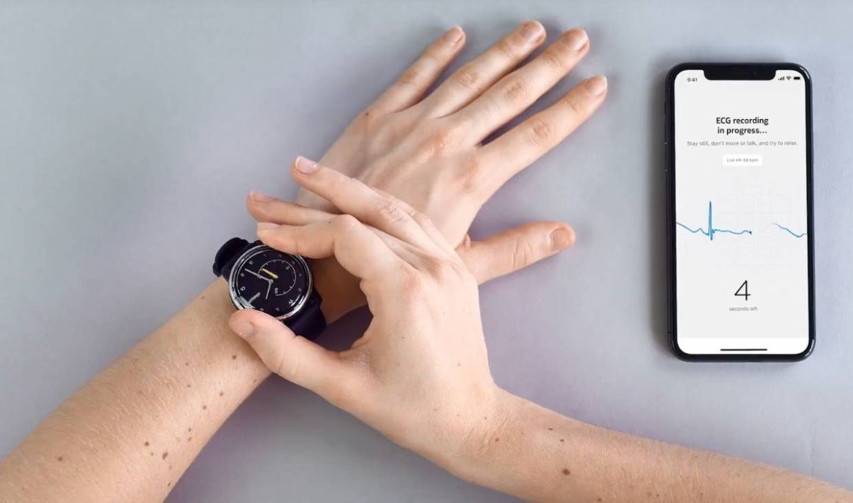 The company says whenever users feel palpitations, they can press a side button on the watch and place a finger on the bezel and get a medical-grade ECG reading in 30 seconds.