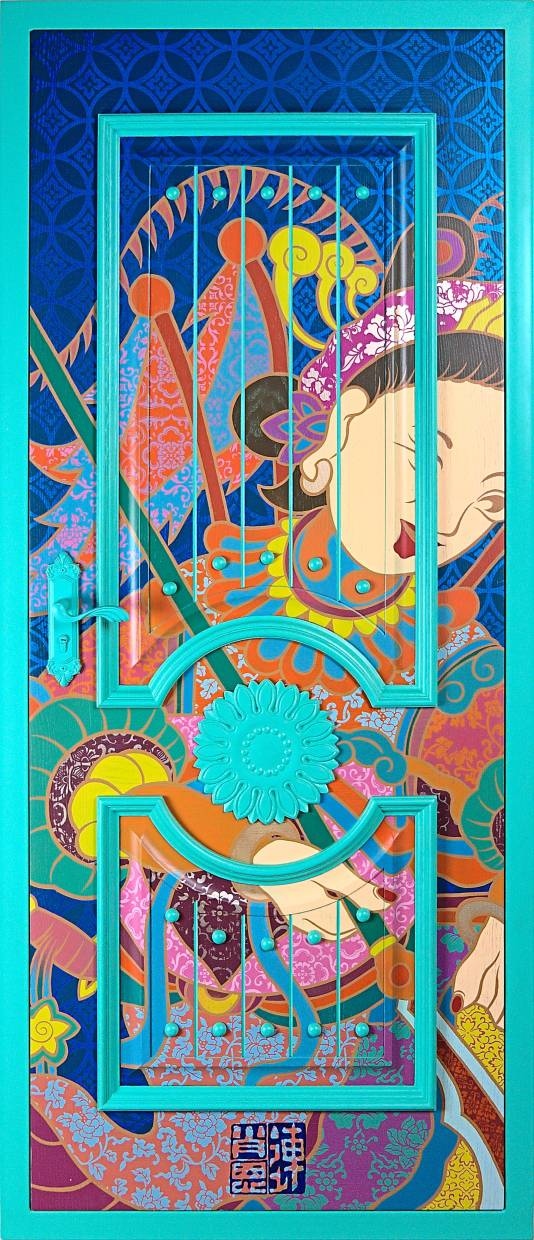 'Tiffany Blue Door (Heroine Of The Yangs, Mu Guiying)' (automotive paint on wooden door with steel frame, 2019). Photo: Wei Ling Gallery