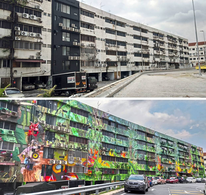 The before-and-after photo of Fadzlan's Tree Of Hope mural at Indah UPC in Kuala Lumpur. Photo: Dipapansembilan Studio