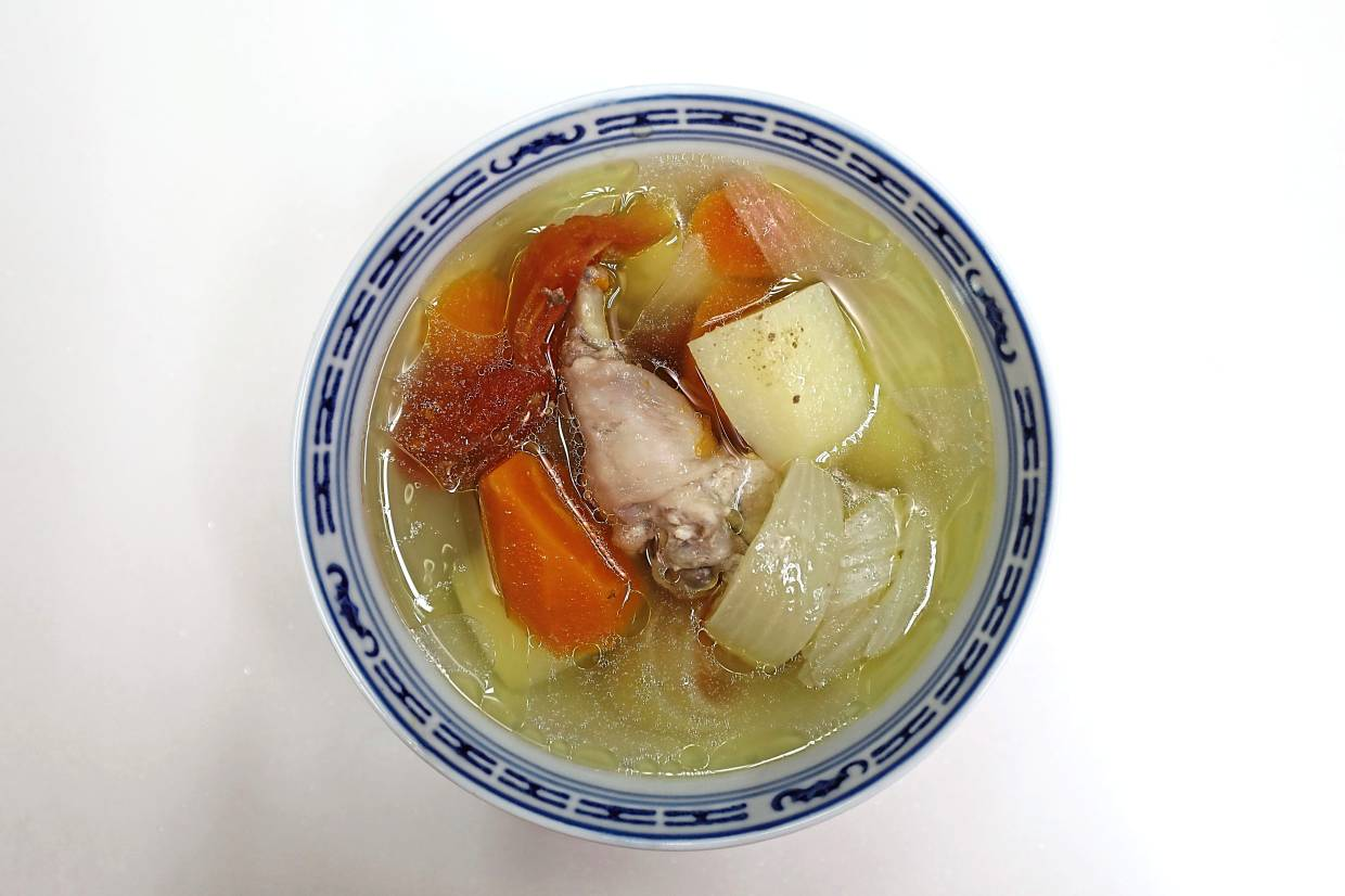 Home-made ABC soup contains vitamins A, B and C as part of a hearty meal.