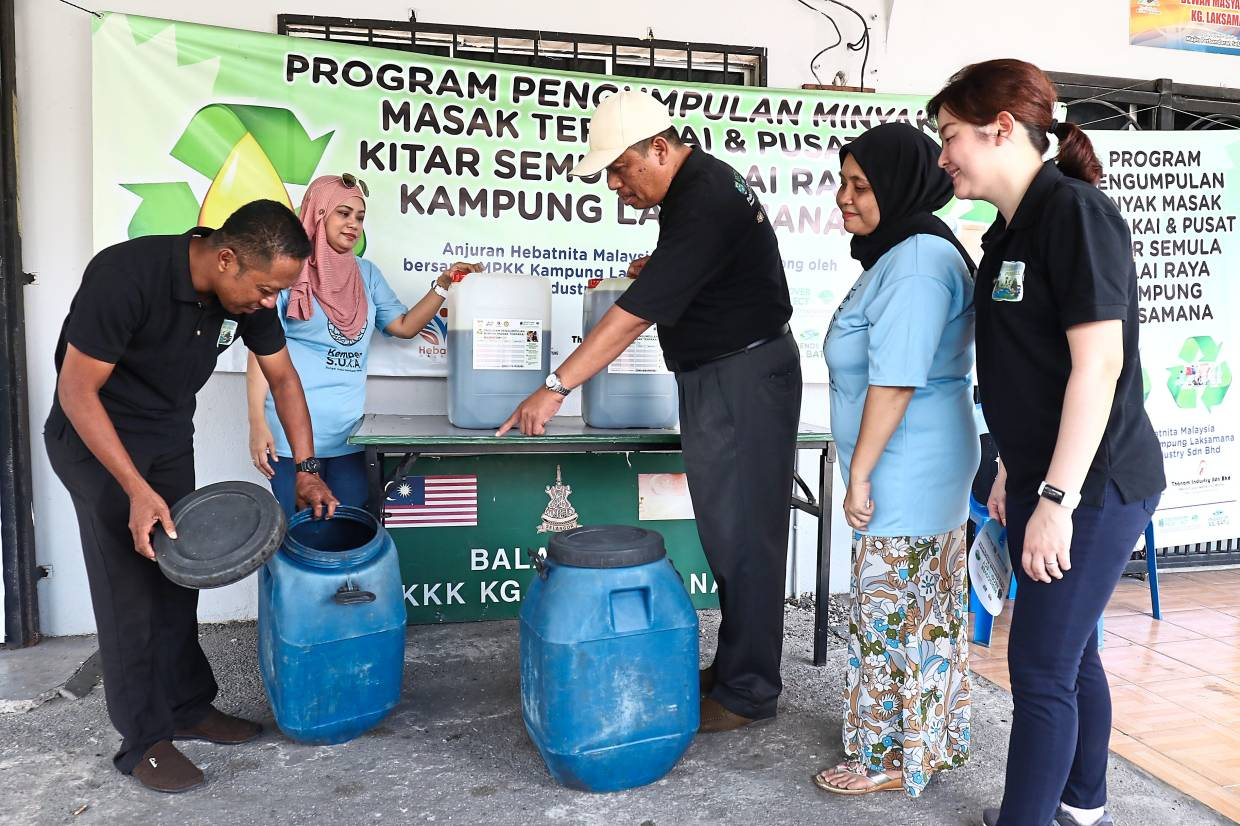 At the Kampung Laksamana collection centre, villagers can send used cooking oil, plastic, paper and glass to be recycled.