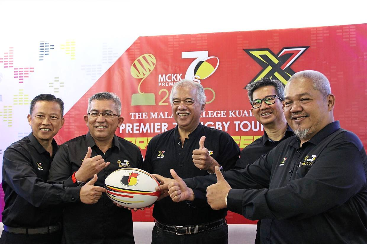 (From left) Mohd Shahadan Abdul Rahman, Shahrul, Tunku Ahmad Burhanuddin, MCKK Premier 7s joint chairman Roslan Hassan and tournament director Amrul Hazarin Hamidon at the launch of the 10th MCKK Premier 7s Rugby Tournament.