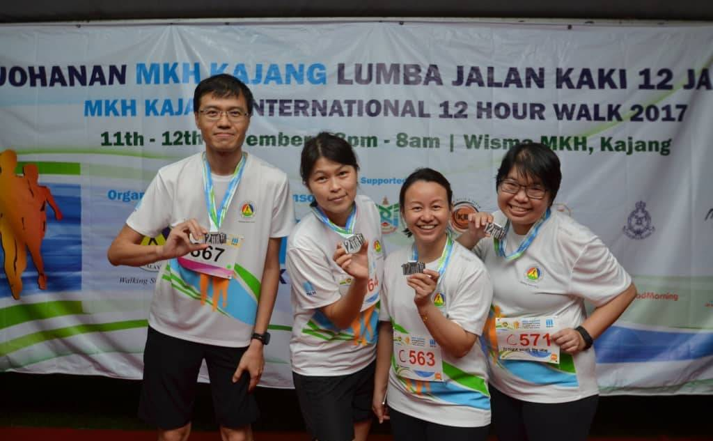 Ng with some other participants at a 12-hour walking event in 2017 where he clocked in his longest distance in race walking.