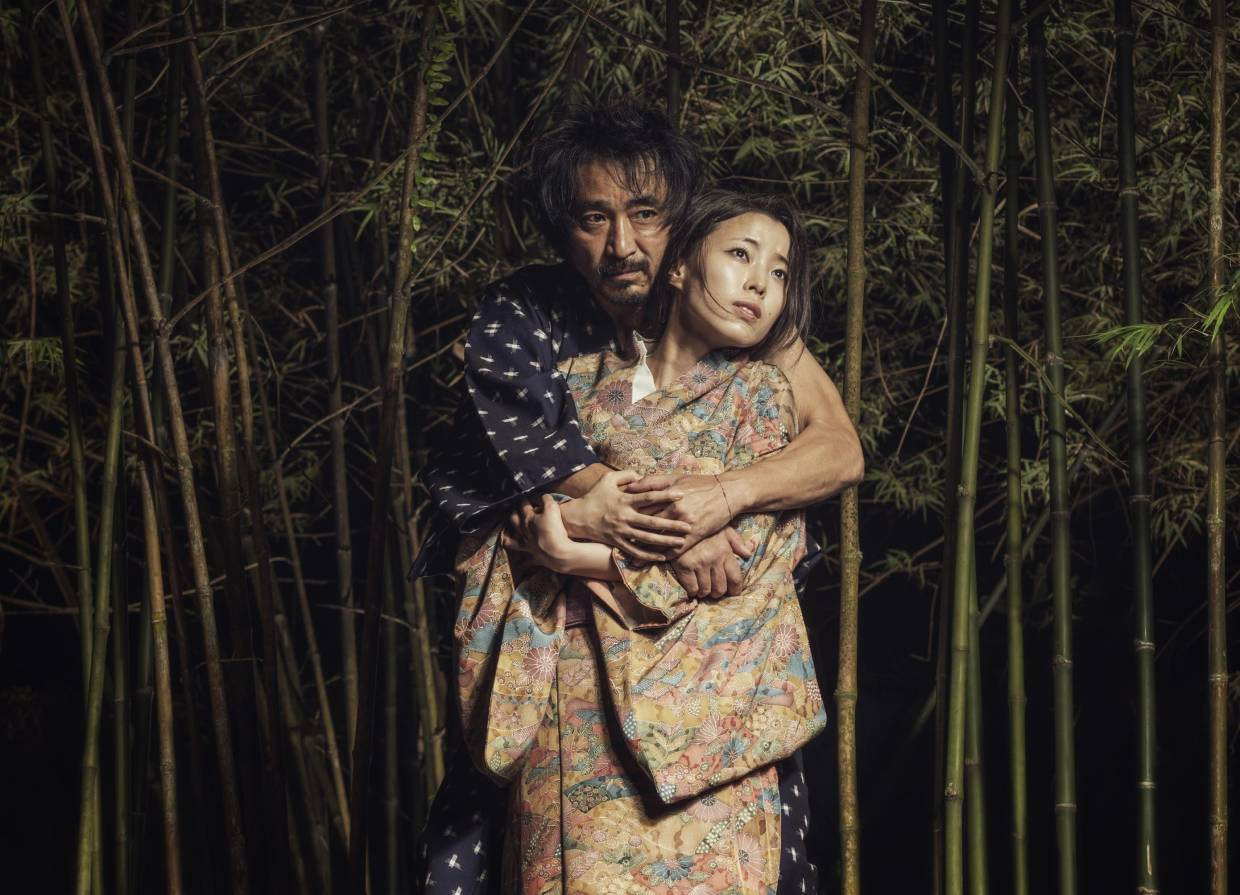 Did you bring mosquito repellent? Doppo Narita (left) and Maiya Goshima play the Bandit and the Wife in The Actors Studio's upcoming version of 'Rashomon'. The show, which features a bamboo forest on stage, opens on Feb 29. Photo: TRBANPHOTO