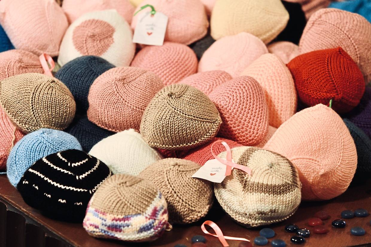 Knitted Knockers are soft and comfortable. When placed in a regular bra, they take the shape and feel of a real breast. Photo: The Star/Low Lay Phon