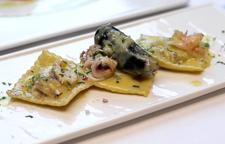 Ravioli Carbonara Di Mare showcases Panariello's innovative take on the traditional pasta dish.