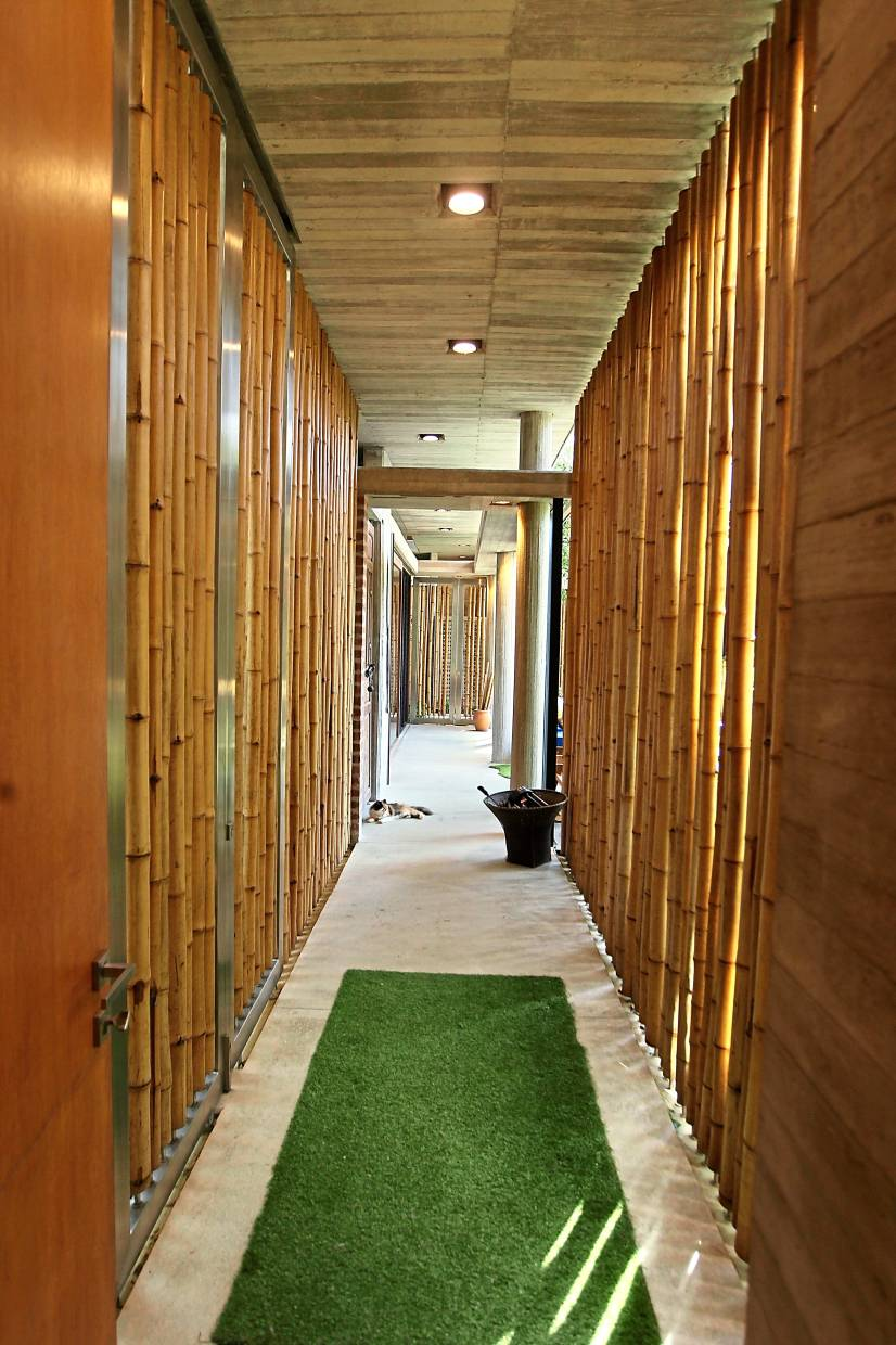 The walkway leading to the guest rooms is flanked by rows of bamboo, creating a natural feel.