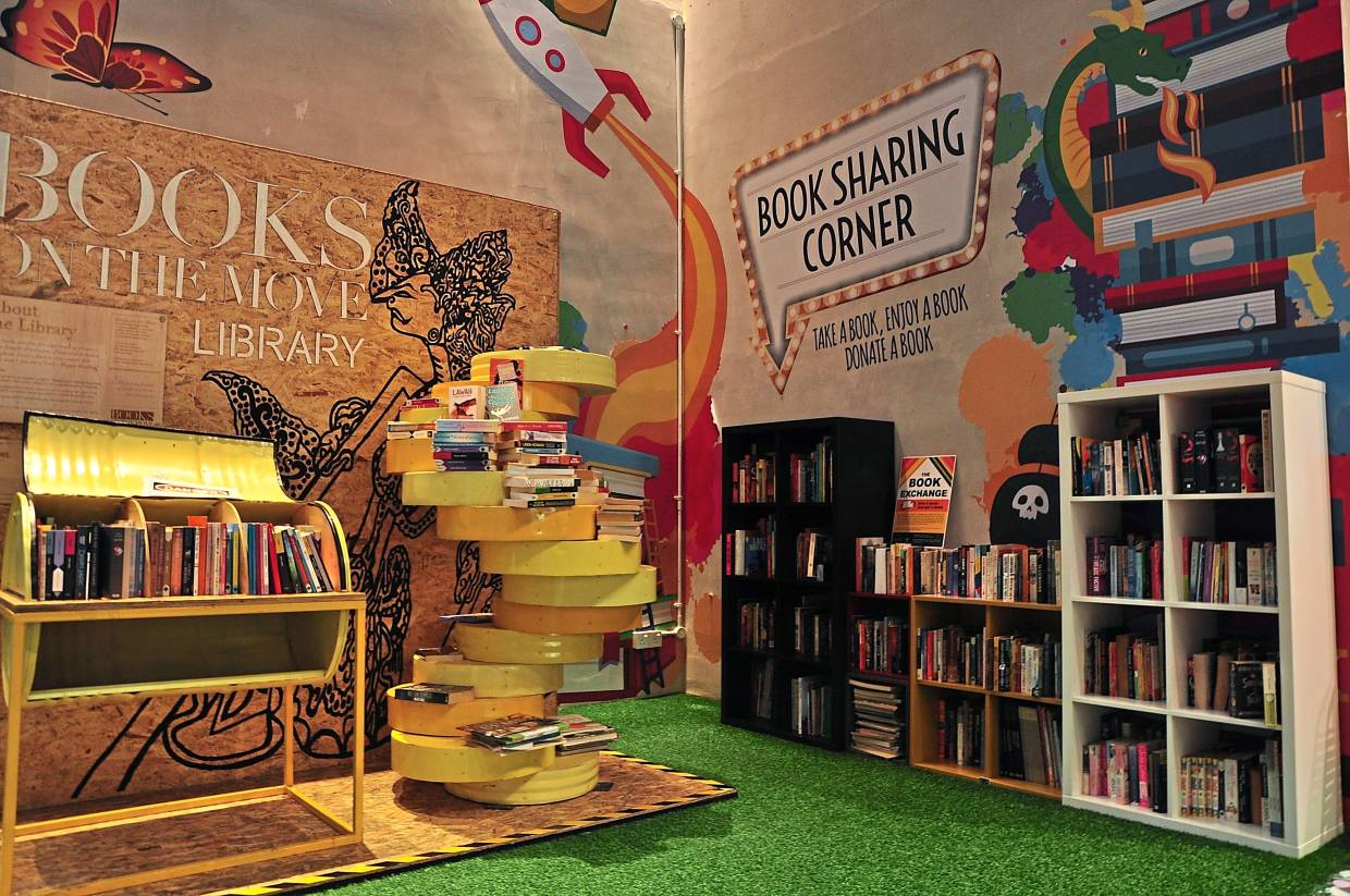 The Book Sharing Corner is a space created to encourage the public to donate and exchange books. Photo: The Linc KL