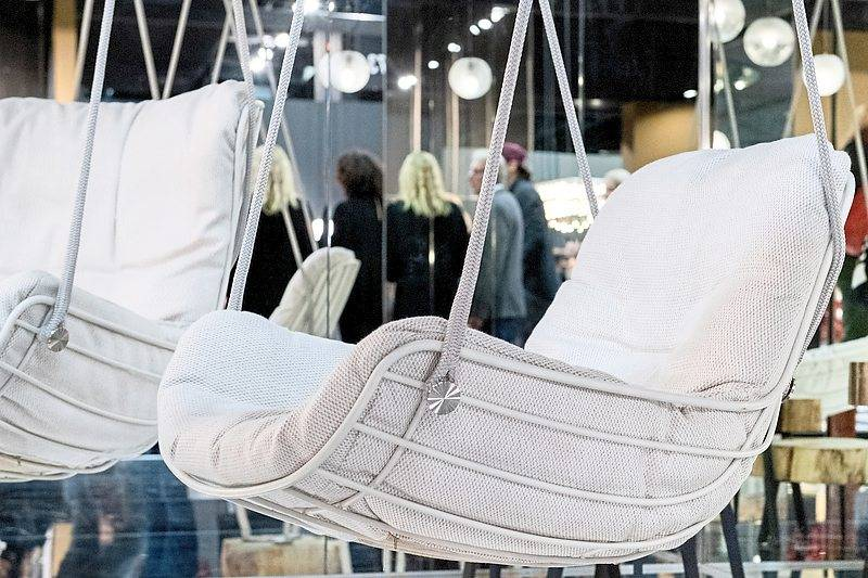 Freifrau's swing seat, originally intended for the home, is now also available for the garden.