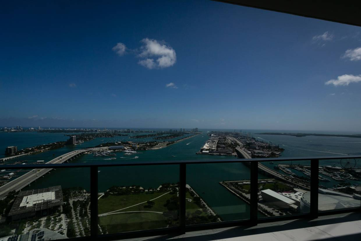 A view of Miami from one of the full-floor apartments.