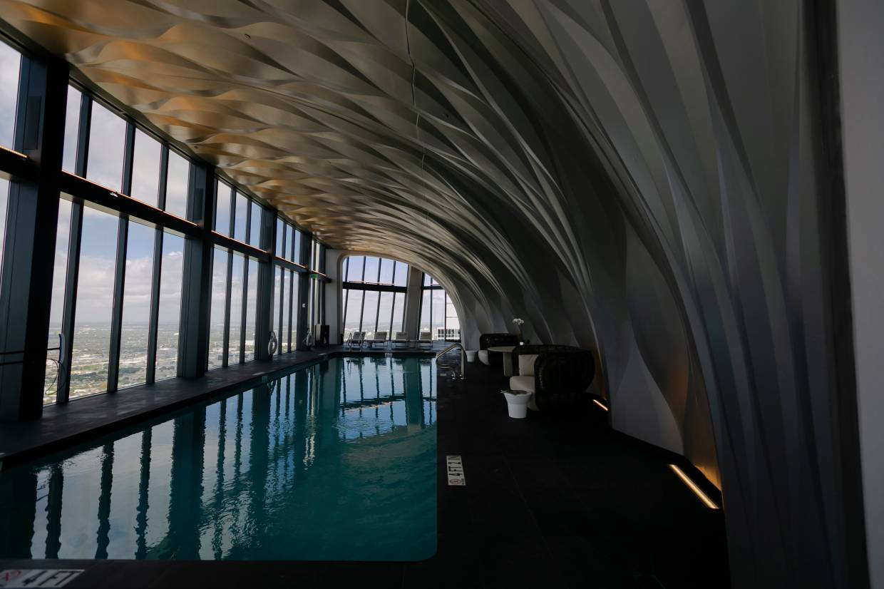 A view of the indoor pool on the roof top.