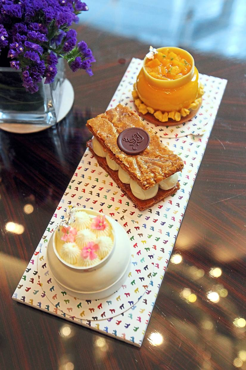 (From top) Exotic Mango, 'Mr Millefeuille Gula Melaka' and Le Temps des Cerises.