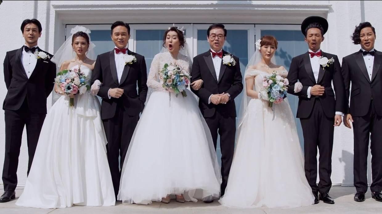 Hong Kong CNY comedy All's Well Ends Well 2020 stars (from left): Adam Pak, Chrissie Chau, Julian Cheung, Sheila Chan, Raymond Wong, Dada Chan, Louis Cheung, Patrick Tam. Photo: Handout