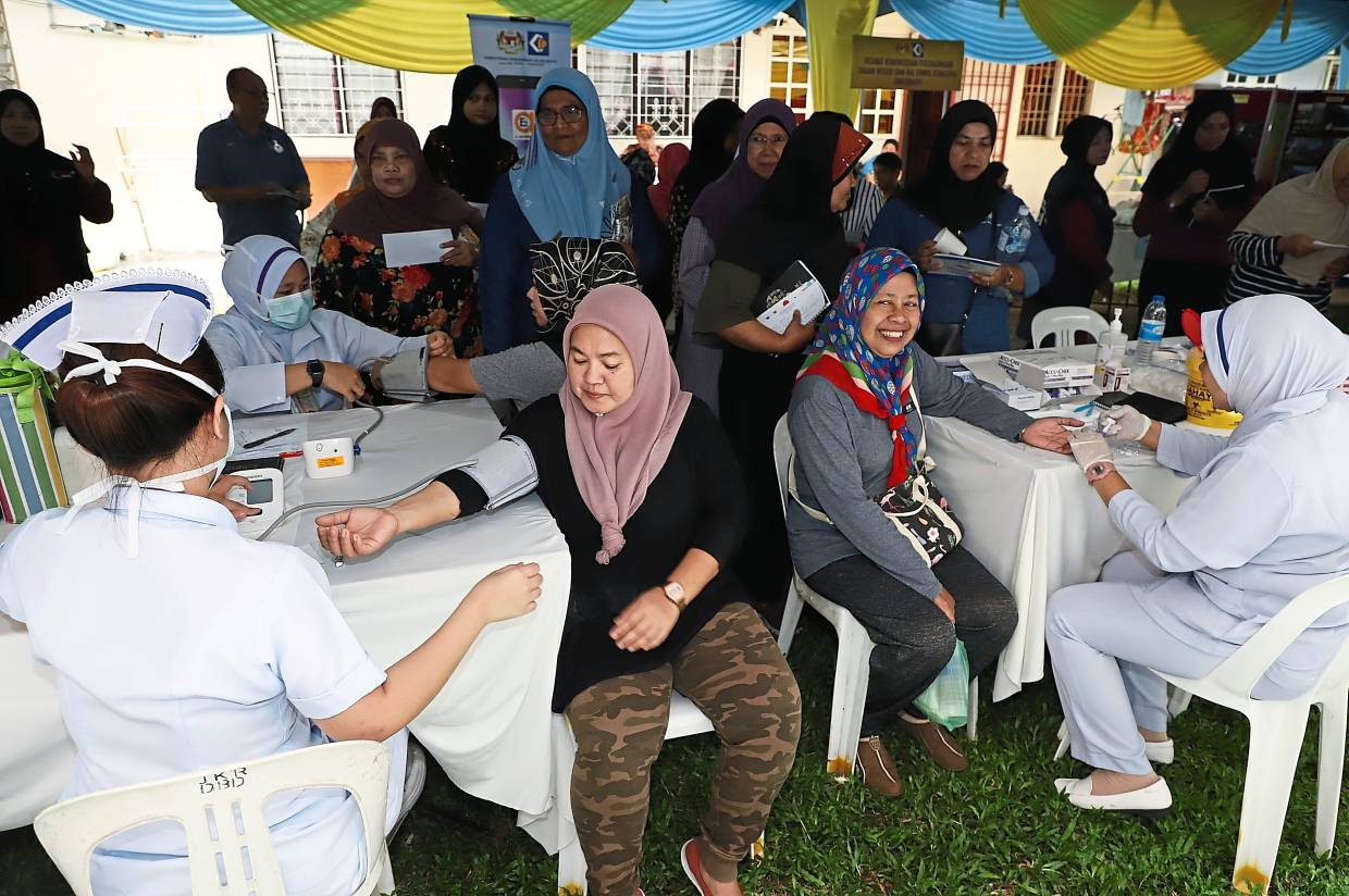 The public getting free health checkups at the event.