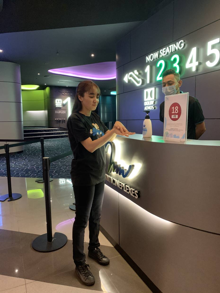 Hand sanitizers are placed at cinema premises for movie-goers.