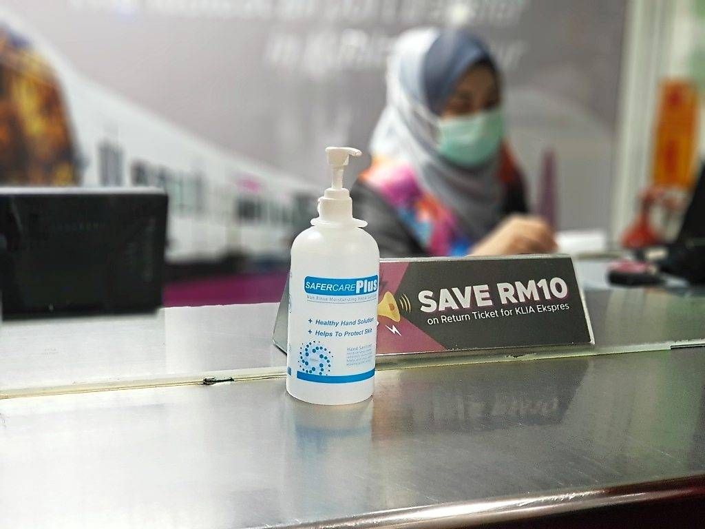 Hand sanitiser provided for the public at an ERL counter. Alcohol-based hand sanitisers should be used only when your hands are not visibly dirty, otherwise, handwashing with soap and water is a must. — ERL