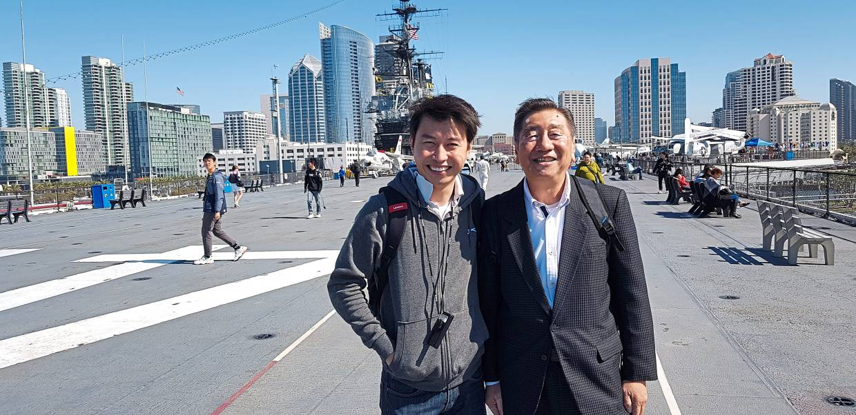 Wong (left) went ahead with the business trip to the United States with his boss recently amid the coronavirus outbreak. — WONG KIM YOONG