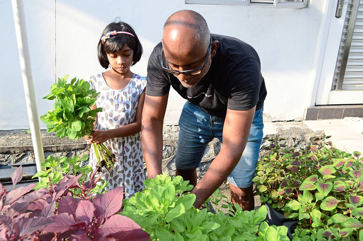 Gia (left) loves to help her father harvest vegetables from their garden.