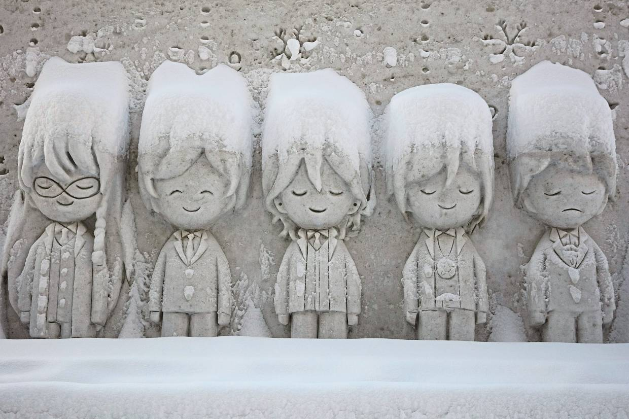 One of snow sculptures featured at the Sapporo Snow Festival in Hokkaido, Japan, in early February. This year, organisers were forced to import snow from other towns in order to keep the festival going.