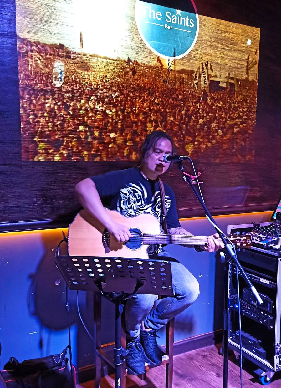 Allan Murillon sings out strong at The Saints Bar on Tuesday nights.