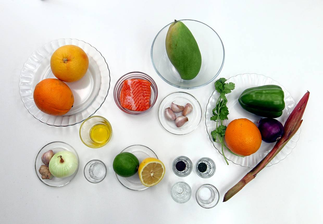The  ingredients to make salmon ceviche.  —Photos: ART CHEN/The Star