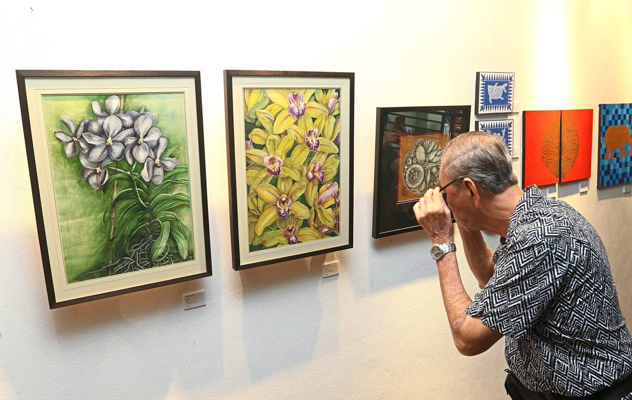 A visitor viewing the artworks on display.