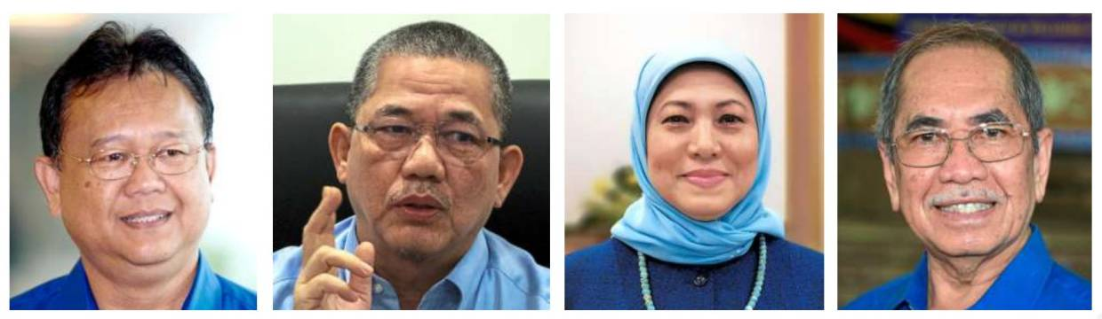 (From left) Alexander Nanta Linggi is Domestic Trade and Consumer Affairs Minister, Fadillah is now Works Minister, Nancy Shukri is Arts and Culture Minister, and Wan Junaidi is Entrepreneur Development and Cooperatives Minister.