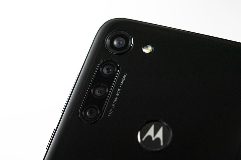 Other than the four cameras and a fingerprint scanner, the black plastic rear of the Motorola G8 Power is rather minimal. — Catherine Waibel/dpa