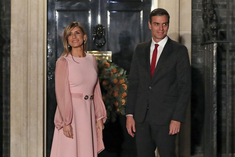 In this Dec 3, 2019, file photo, Spanish Prime Minister Pedro Sanchez and his wife Begona Gomez arrive at 10 Downing Street in London. - AP