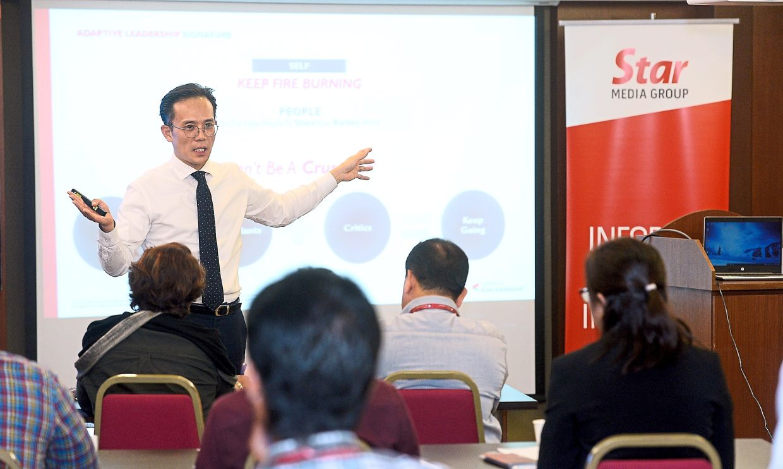 Centre for Asia Leadership Initiatives (CALI) president and co-founder Samuel Kim speaks during the Adaptive Leadership workshop series at Menara Star. AZHAR MAHFOF/The Star