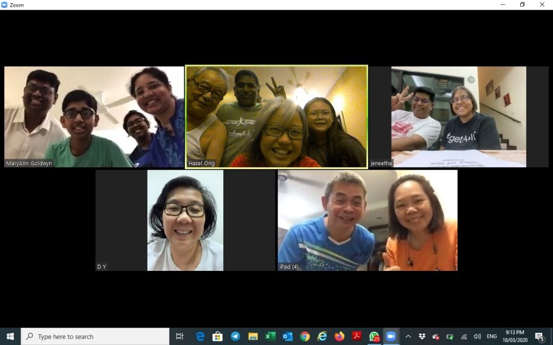 A special prayer session held during Lent via video conferencing involving Hazel Ong's (top, centre) church members. - HAZEL ONG