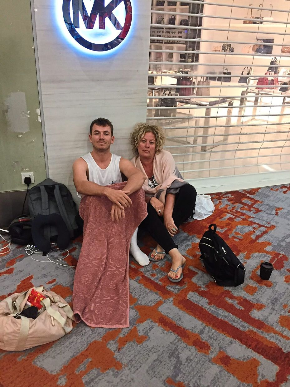 Barry, along with his mother and partner (not pictured), were left stranded at KLIA2 when their flight to Cambodia was cancelled. — LIAM BARRY