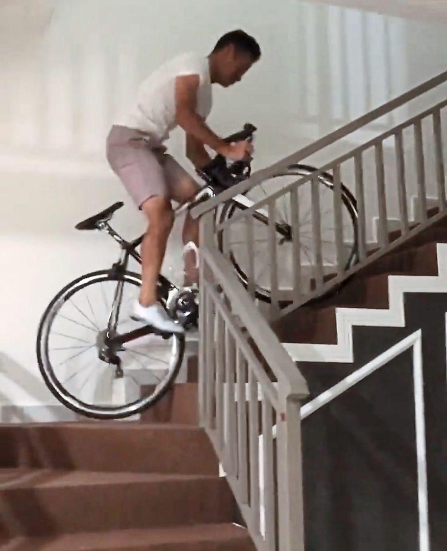 Unlikely terrain: Cyclist Zamri Salleh showing how he keeps himself fit.