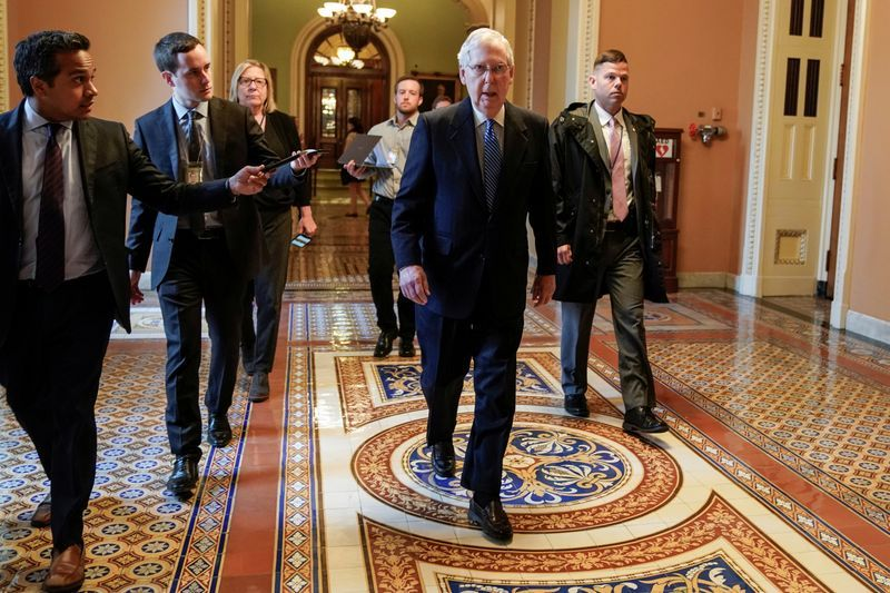 Senate Majority Leader Mitch McConnell R-KY arrives during negotiations on a coronavirus disease COVID-19 relief package on Capitol in Washington U.S. March 23 2020.      REUTERSJoshua Roberts