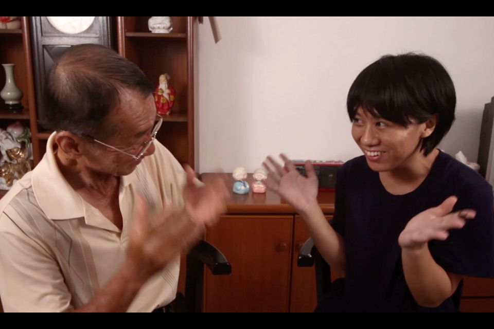 Okui Lala reciting a Teochew language poem together with her father in Penang. Photo: Okui Lala