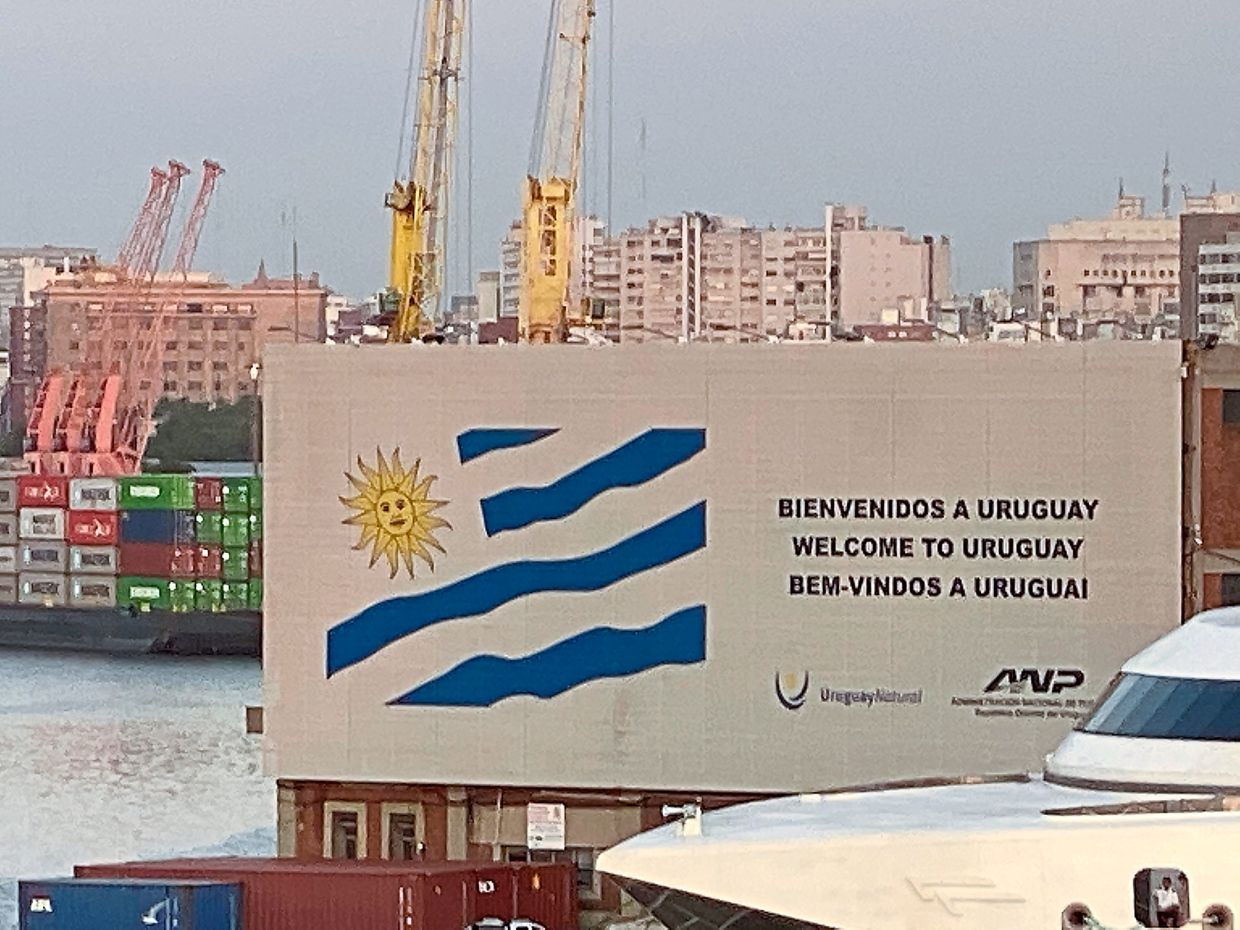 A welcome sign at the Montevido port.