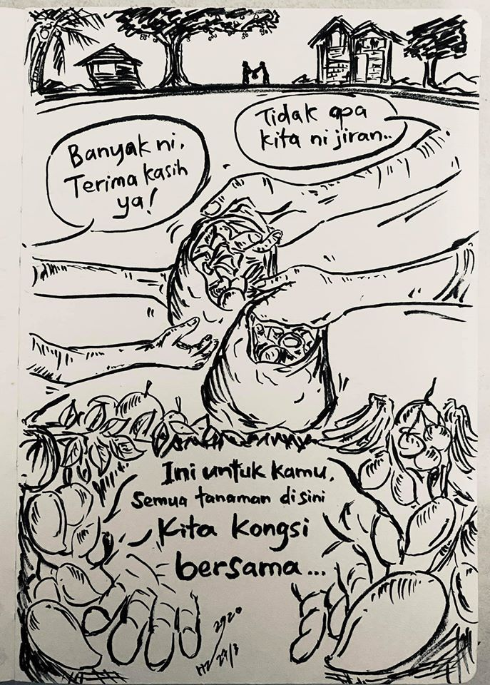 One of Leong's Covid-19 crisis cartoons that illustrates the strong community spirit in rural Sabah. Photo: Rizo Leong