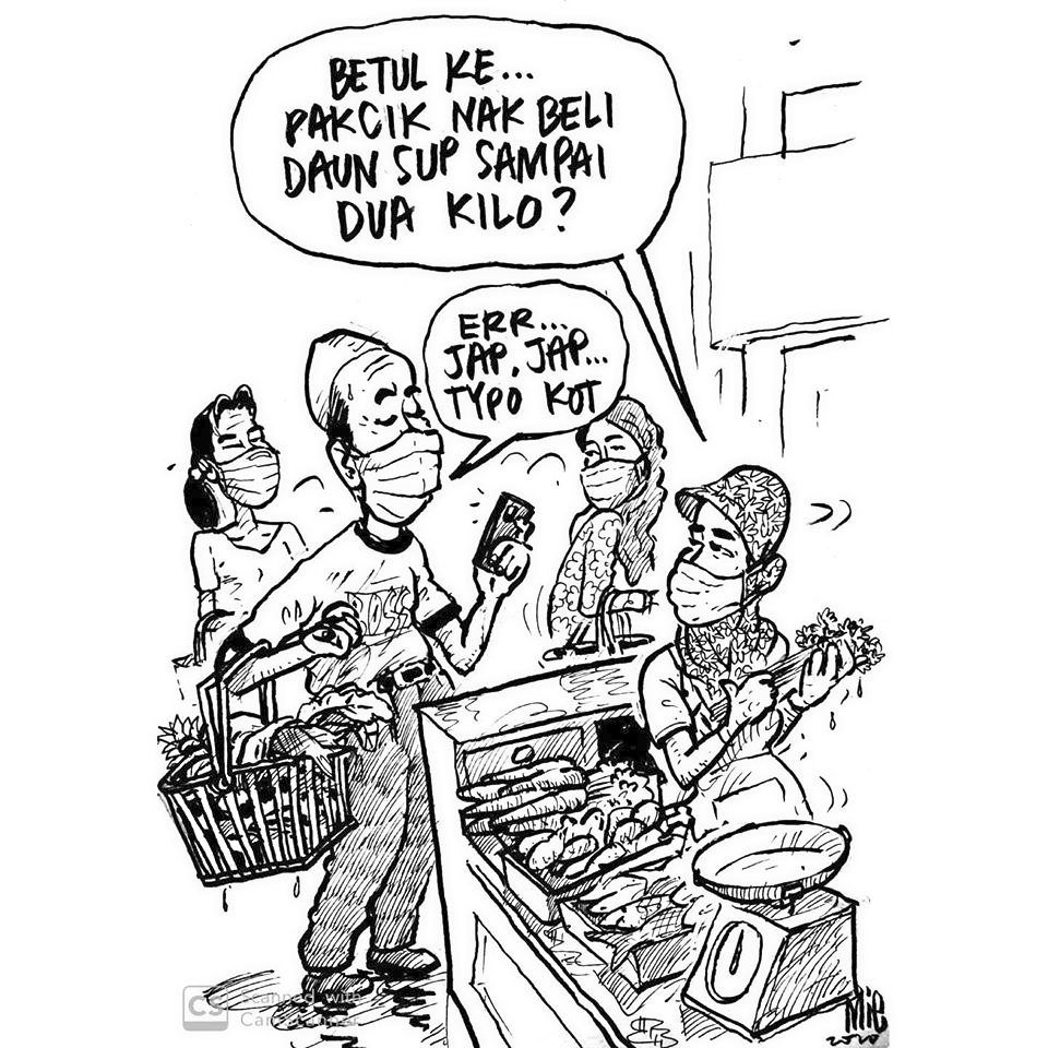 A Covid-19 cartoon from Mie, who is the recipient of this year's Anugerah Tokoh Kartunis. Photo: Mie