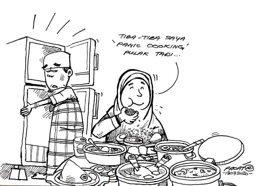 A work from cartoonist Pacat, detailing the daily challenges of these 'stay home' times. Photo: Pacat
