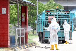 Disinfection exercise underway