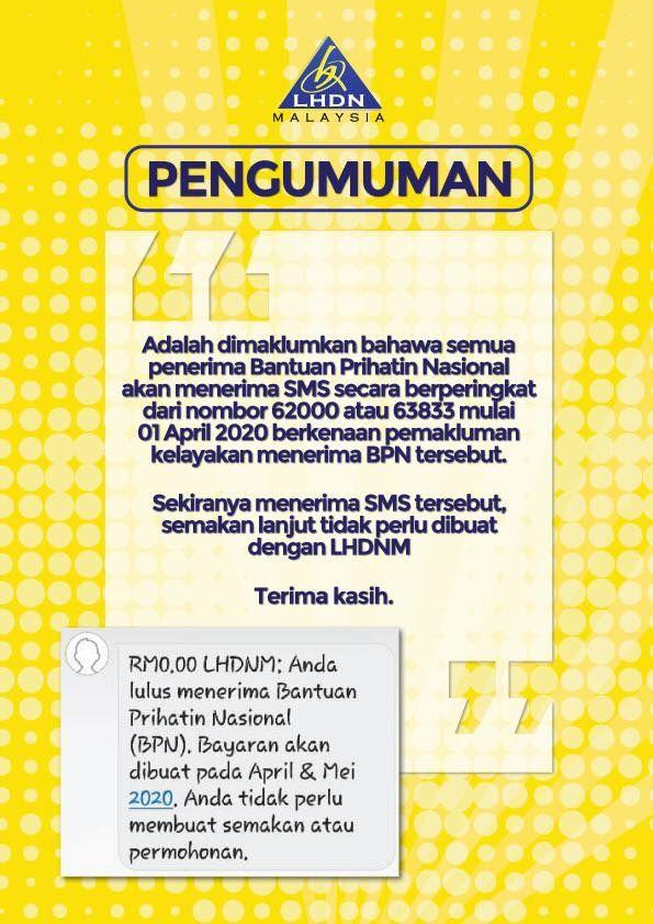 Example of genuine text message by LHDN. — Lembaga Hasil Dalam Negeri Malaysia Facebook