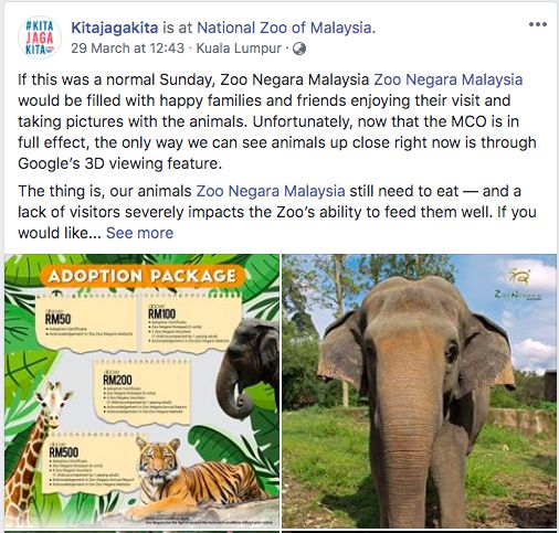 The #kitajagakita initiative also highlighted the plight of Zoo Negara Malaysia's animals with an animal 'adoption package' (by Malaysian Zoological Society) that the public can participate in.