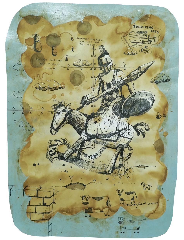 Hamizan Yusof's 'Tyrannical Series III' (coffee and ink on paper, 2020). Photo: G13 Gallery