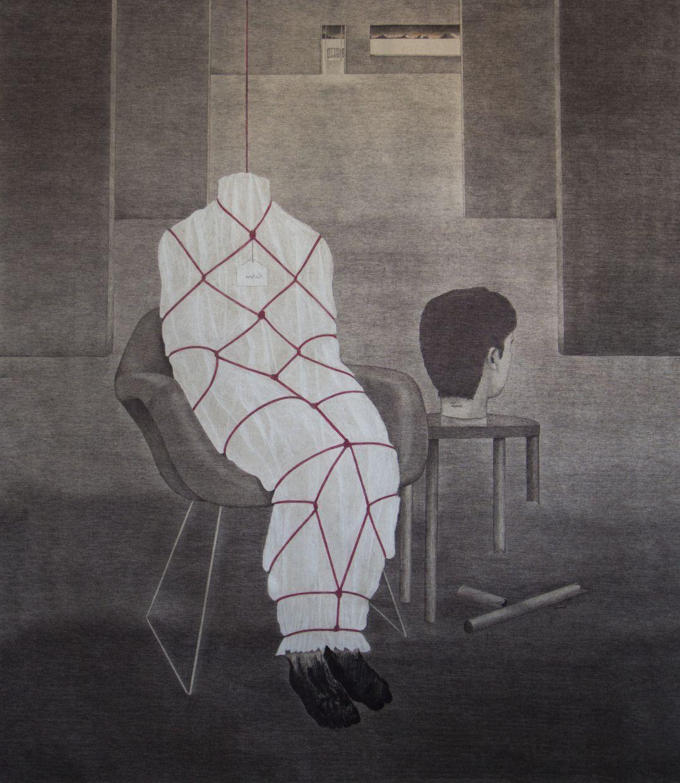 Syahbandi Samat's 'Rahsia' (ballpoint pen and white pencil on canvas, 2019). Photo: Artemis Art