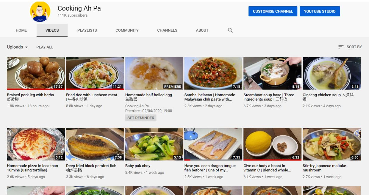 Lim says now that people are cooking more, they constantly need ideas which is why sites like his have proven very popular.