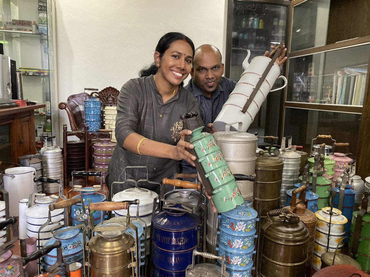 Prakash and Punita's love affair for vintage tiffin carriers started in 2007. Through the years, they have collected more than 260 tiffin carriers, many of which are featured in their book. Photo: Emily Wong