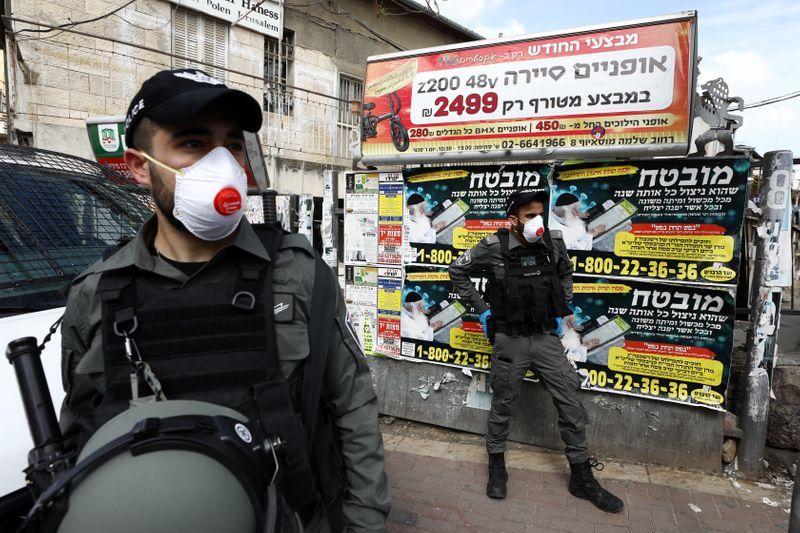 Israeli police wearing masks patrol as they enforce a national lockdown to fight the spread of the coronavirus disease COVID-19 in Mea Shearim neighbourhood of Jerusalem April 7 2020. REUTERSAmmar Awad