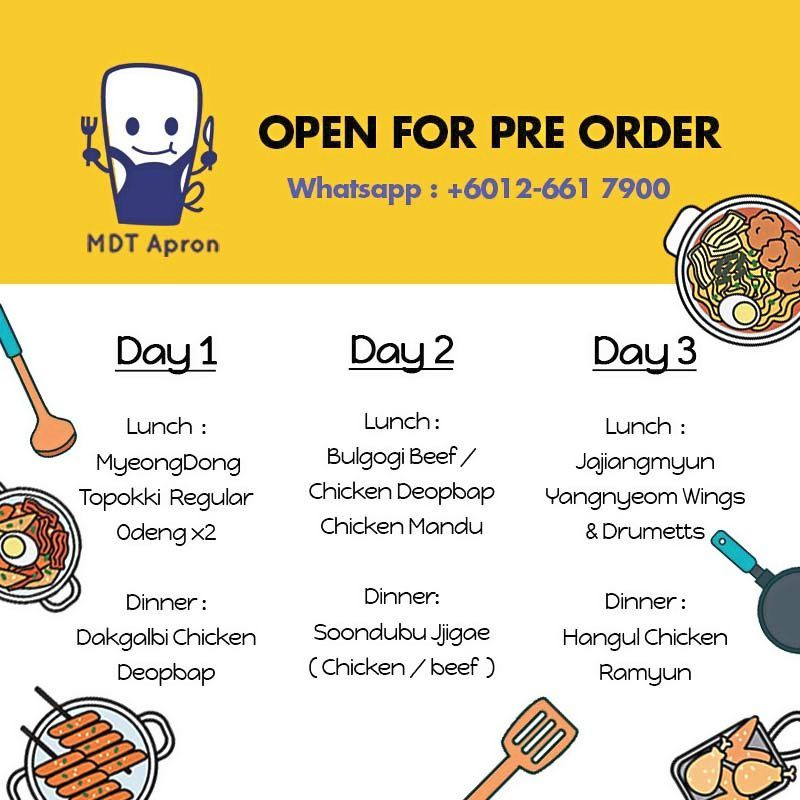 MDT Apron's three-day meal subscription is available for home delivery.