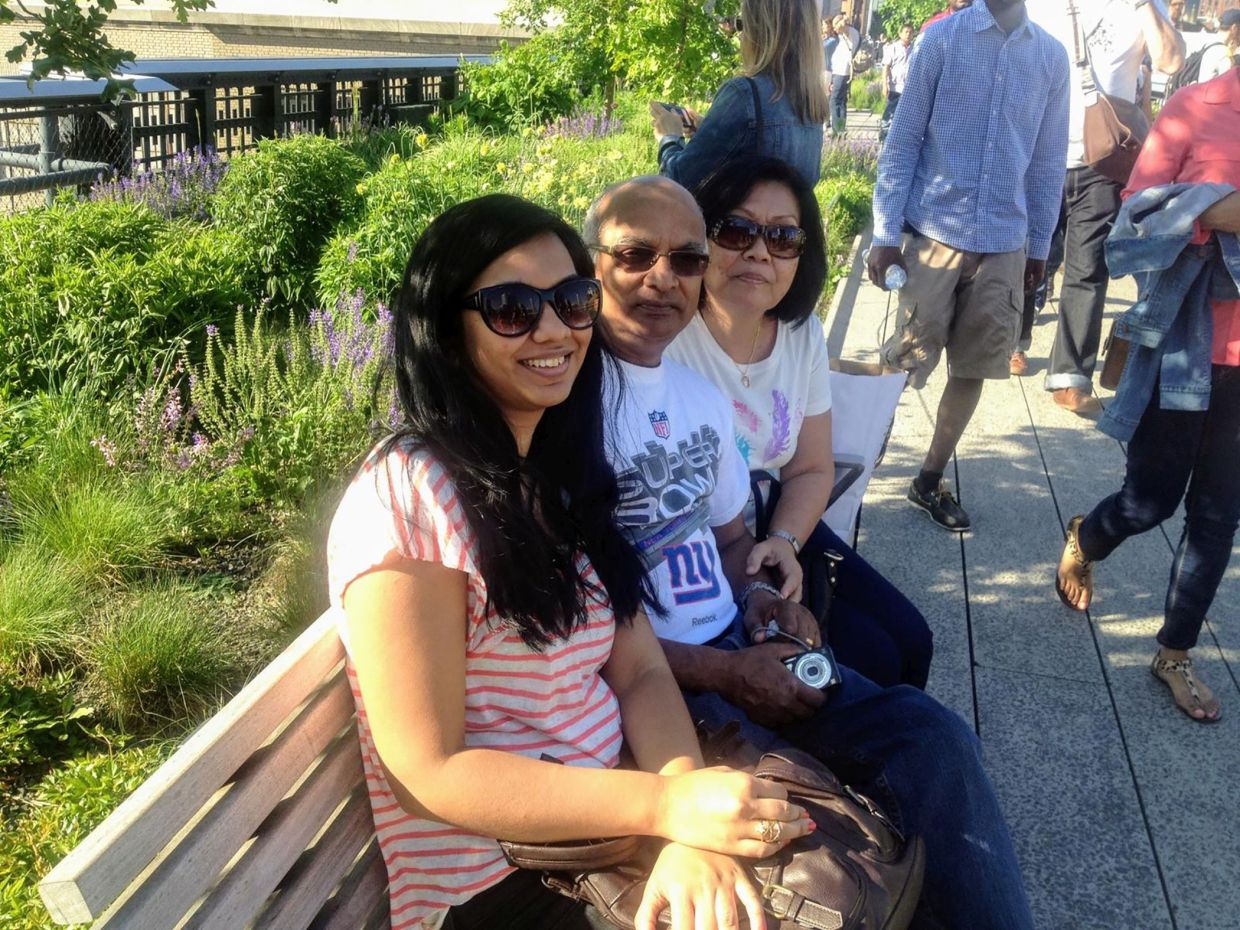 Juanita with her late dad and mum at the High Line.